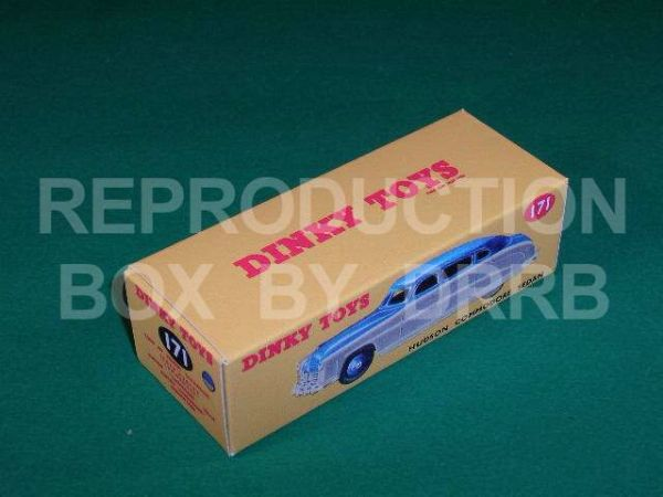 Dinky #171 Hudson Commodore Sedan - Reproduction Box ( Two tone finish, Blue with Grey sides)